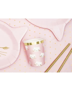 6 vasos de gatos rosa pastel de papel - Meow Party