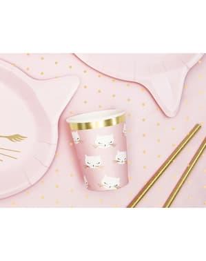 6 copos de papel de gatos cor-de-rosa pastel - Meow Party