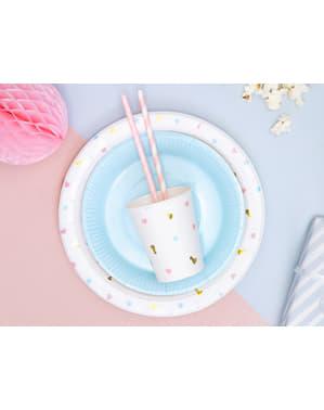Zestaw 6 białe papierowe kubki z kolorowym nadrukiem - Unicorn