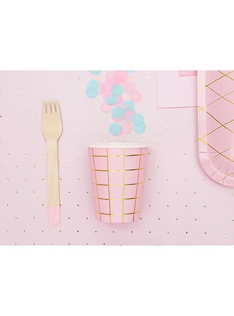 6 vasos rosas con cuadros dorados de papel - para tus fiestas