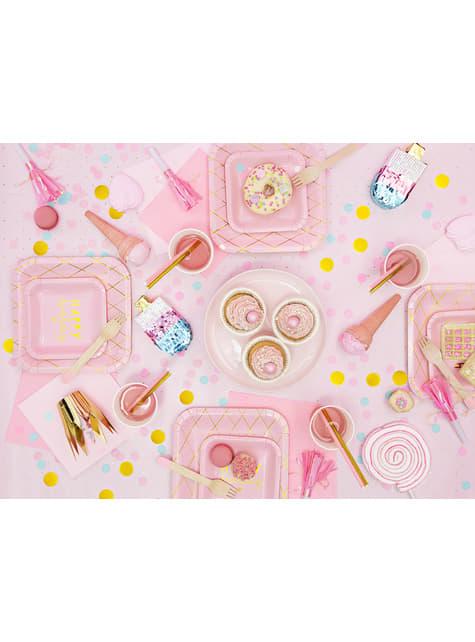 6 bicchieri rosa con quadri dorati di carta