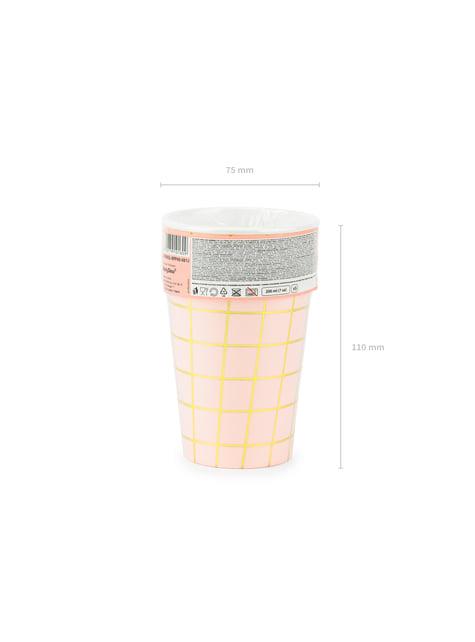 6 vasos rosas con cuadros dorados de papel - para niños y adultos