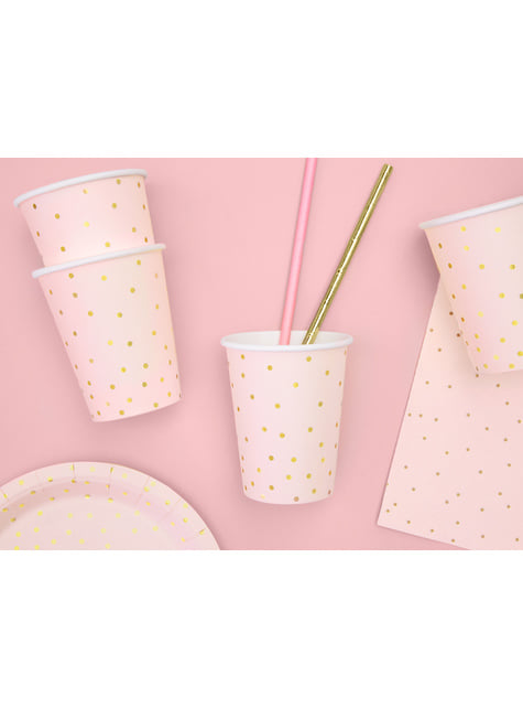 6 bicchieri rosa con pois dorati di carta