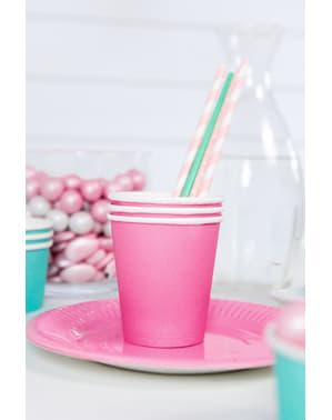 6 vasos rosas de papel