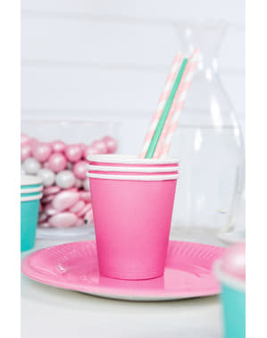 6 Pink Paper Cups