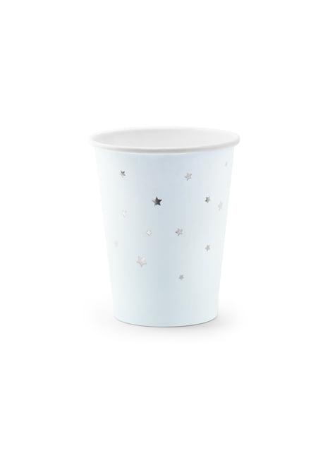 6 gobelets bleues pastel avec étoiles argentées en carton