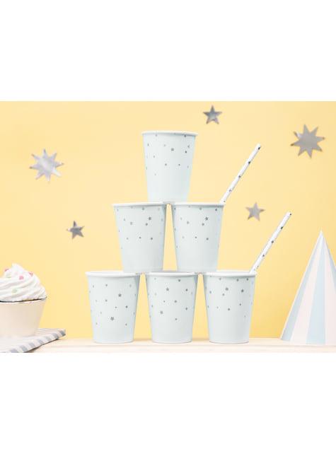 6 bicchieri blu pastello con stelle argentate di carta
