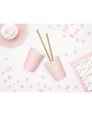 6 copos cor-de-rosa pastel com estrelas douradas de papel