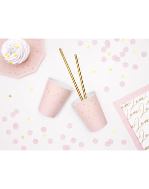 6 Pastel Pink Paper Cups with Gold Stars
