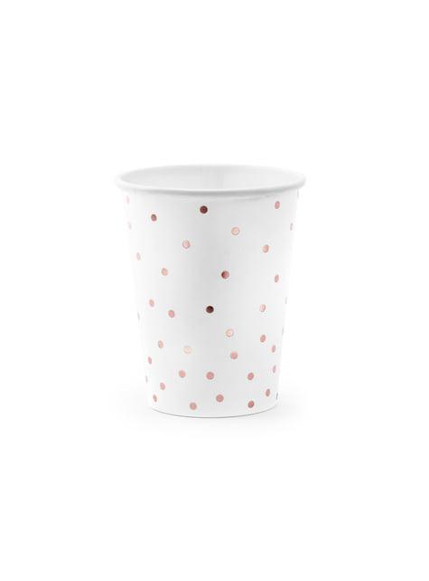 6 vasos blancos con lunares oro rosa de papel