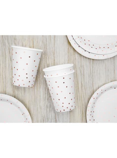 6 vasos blancos con lunares oro rosa de papel - para tus fiestas