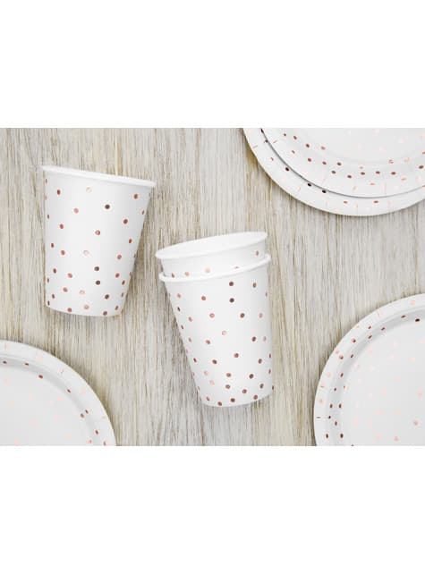6 White Paper Cups with Rose Gold Dots
