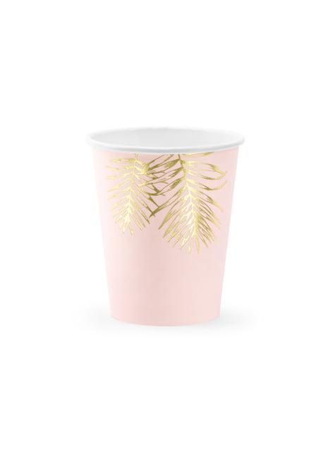 6 vasos rosas con hojas doradas de papel