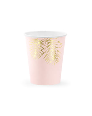 6 gobelets roses avec feuilles dorées en carton