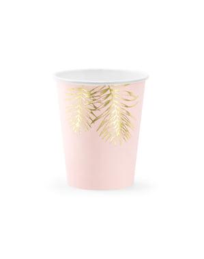 Pappbecher Set 6-teilig rosa mit goldenen Blättern