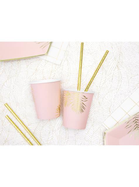 6 vasos rosas con hojas doradas de papel - para tus fiestas