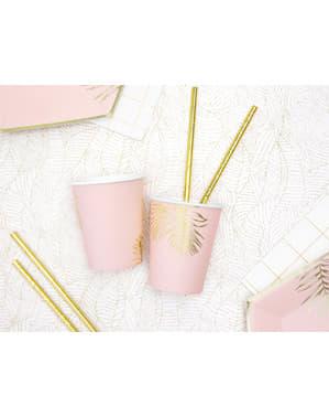 6 roze papieren bekertjes met gouden bladeren