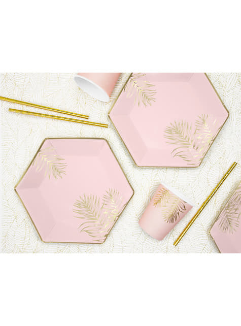 6 vasos rosas con hojas doradas de papel - barato