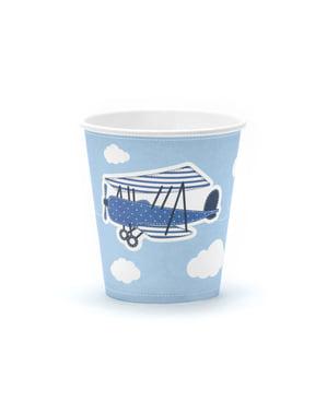 Комплект от 6 хартиени чаши с плосък печат, синьо - малка равнина
