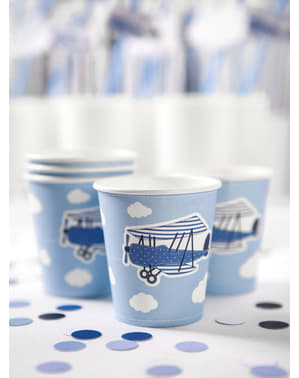 6 Paper Cups with Plane Print, Blue - Little Plane