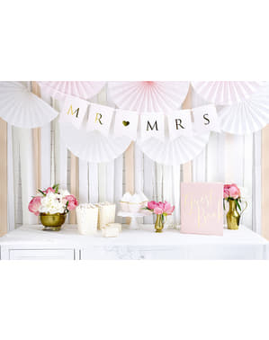 4 rollos de papel crepe blanco para cortina (10 m)