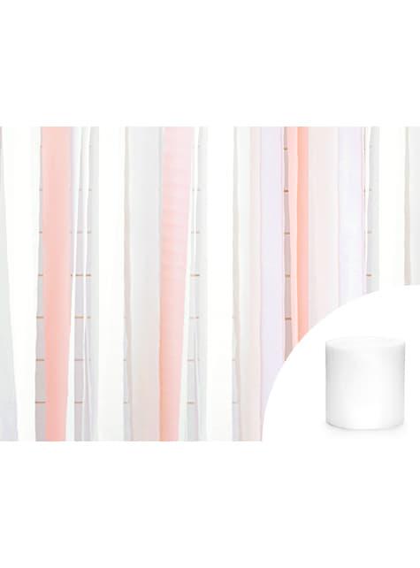 4 rollos de papel crepe blanco para cortina (10 m) - para niños y adultos