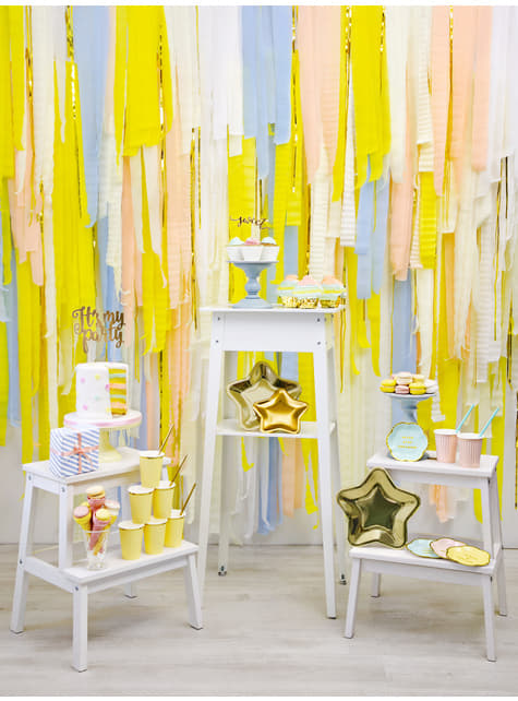 4 rollos de papel crepe blanco para cortina (10 m) - para decorar todo durante tu fiesta