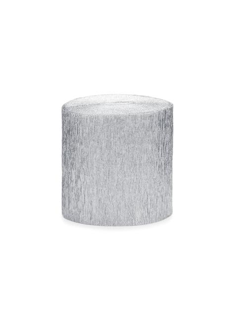 4 rollos de papel crepe plateado para cortina (10 m)