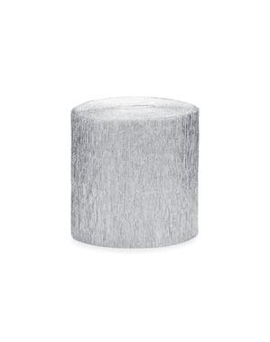 4 rullaa hopeista kreppipaperiserpentiiniä, 10m