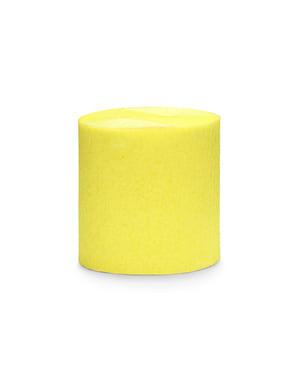 4 rullaa keltaista kreppipaperiserpentiiniä, 10m