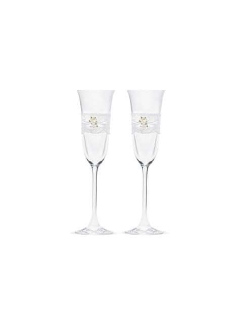 2 flûtes à champagne avec dentelle et roses blanches