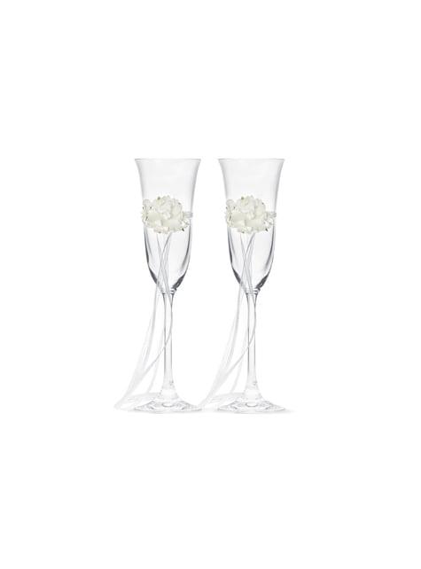 2 flûtes à champagne avec fleurs et rubans blancs