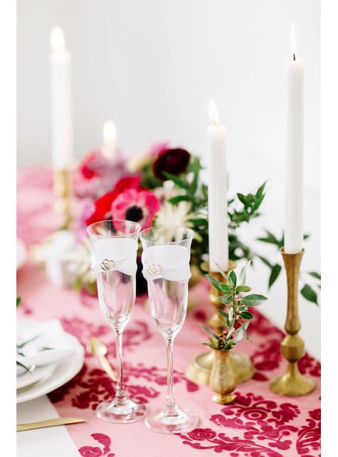 2 flûtes à champagne avec ruban blanc et cœurs dorés