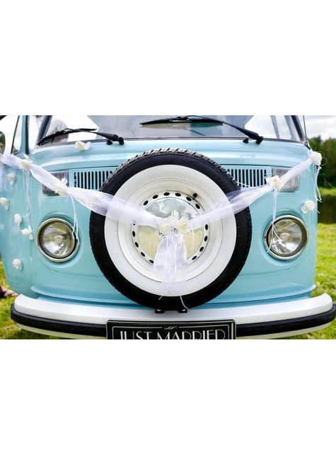 2 rubans blancs avec fleur et décoration en organdi pour voiture de marié