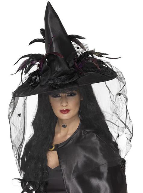 Kapelusz czarownicy z piórami i tiulem