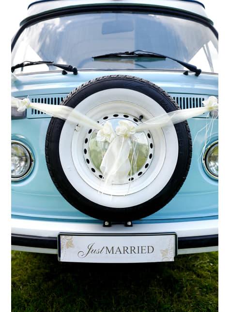 2 nœuds avec fleurs et décorations suspendues beige en organdi pour voiture des mariés