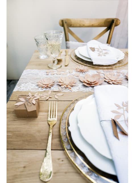 3 flores rosa pastel de papel para mesa - Rustic Collection - barato