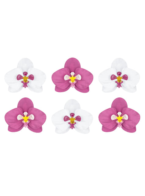6 orquídeas blancas y moradas para mesa - Aloha Turquoise