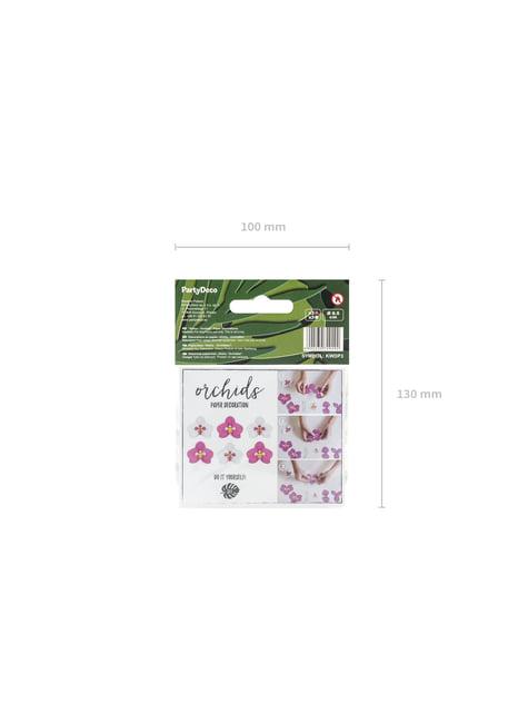 6 Orchidées blanches et violettes pour la table en papier - Aloha Collection
