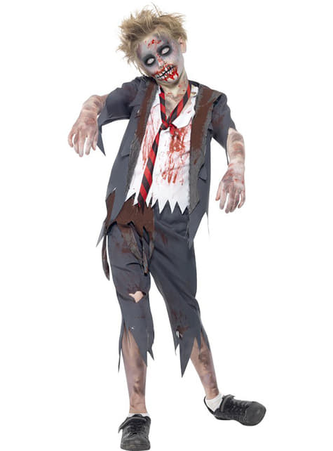 Student zombie costume for a boy