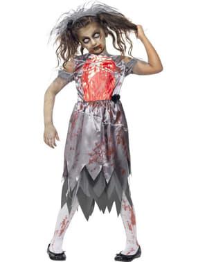 Disfarce de noiva zombie para menina