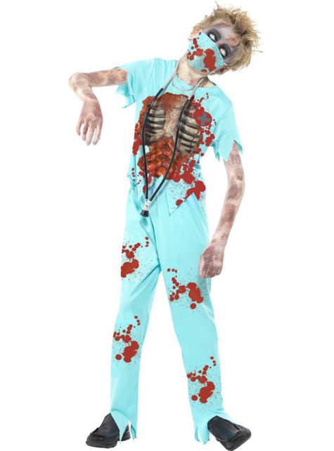 Fato de médico zombie para menino