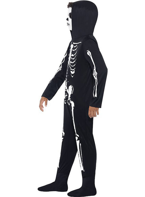 Fato de esqueleto preto para menino