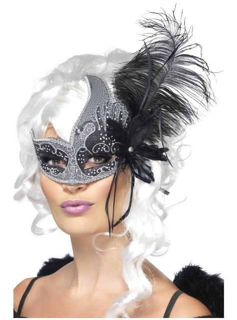 Venetisk øyemaske med fjær