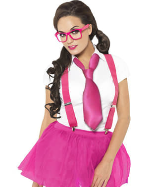 Set nerd kostuum in fucsia