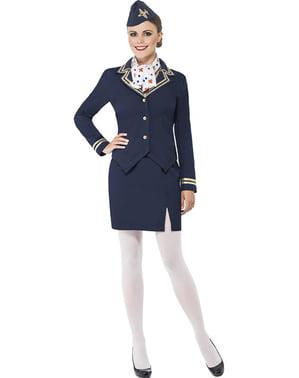 Blå Flyvertinne Kostyme til Damer