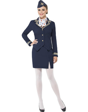Stewardess Kostüm blau für Damen