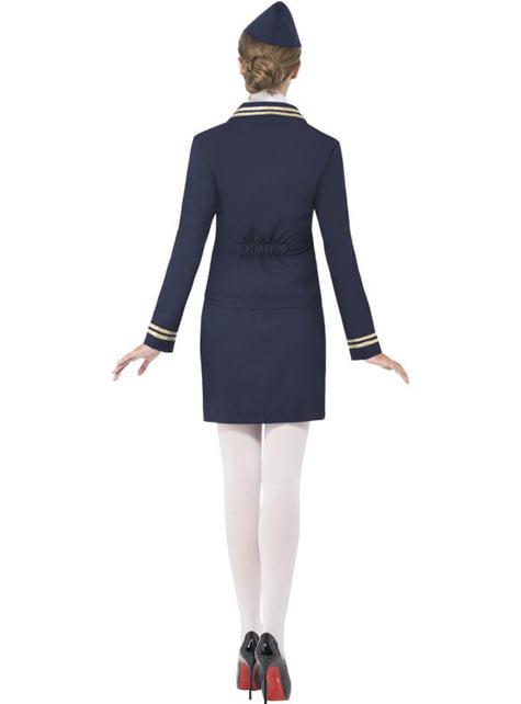 Blåt Stewardesse Kostume til Kvinder