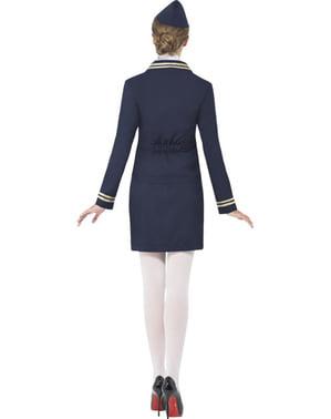Disfraz de azafata azul para mujer