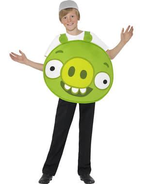 Costume da porcellino verde Angry Verde da bambino